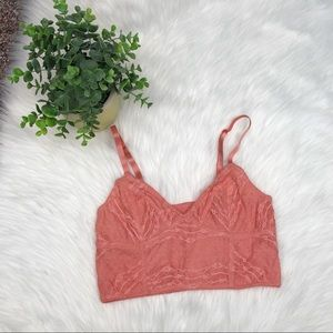 Free People Salmon Lace Crop Bralette Small